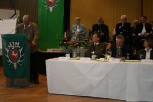 Vorsitzender Otto Thiele hält seinen Rechenschaftsbericht. Foto: Uwe Kurmeyer