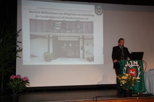 Helmut Dammann-Tamke, Präsident der Landesjägerschaft Niedersachsen e.V. (LJN) bei seiner Rede. Foto: LJN
