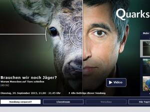 Titelbilder der Quarks & Co-Sendung: Brauchen wir noch Jäger?  Foto: www1.wdr.de