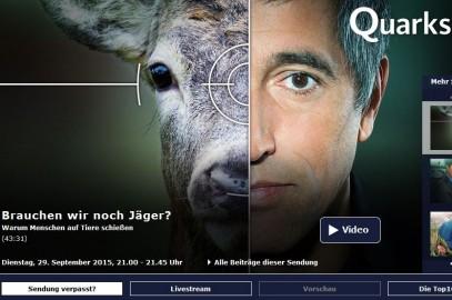 Wissenschaftssendung Quarks & Co berichtet über die Jagd mangelhaft und polemisch