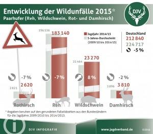 Entwicklung der Wildunfälle 2015 - Grafik DJV
